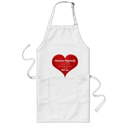 Housewife Pride Typography Heart Love Quote Long Apron - kitchen gifts diy ideas decor special unique individual customized