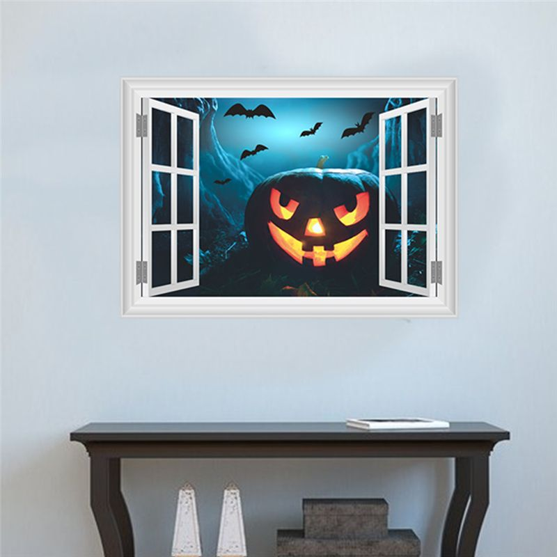 Pumpkin Lantern Bats Wall Decals Halloween Decoration 3d Fake Window