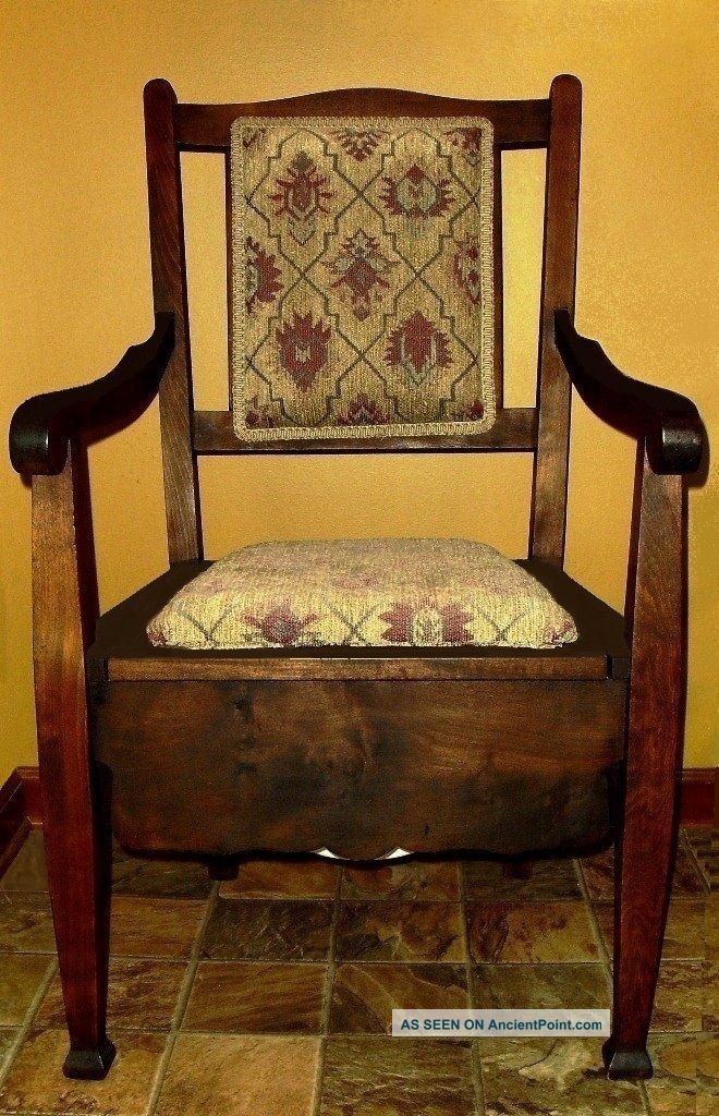 antique c 1860 wood mahogany adult commode potty arm chair and chamber pot