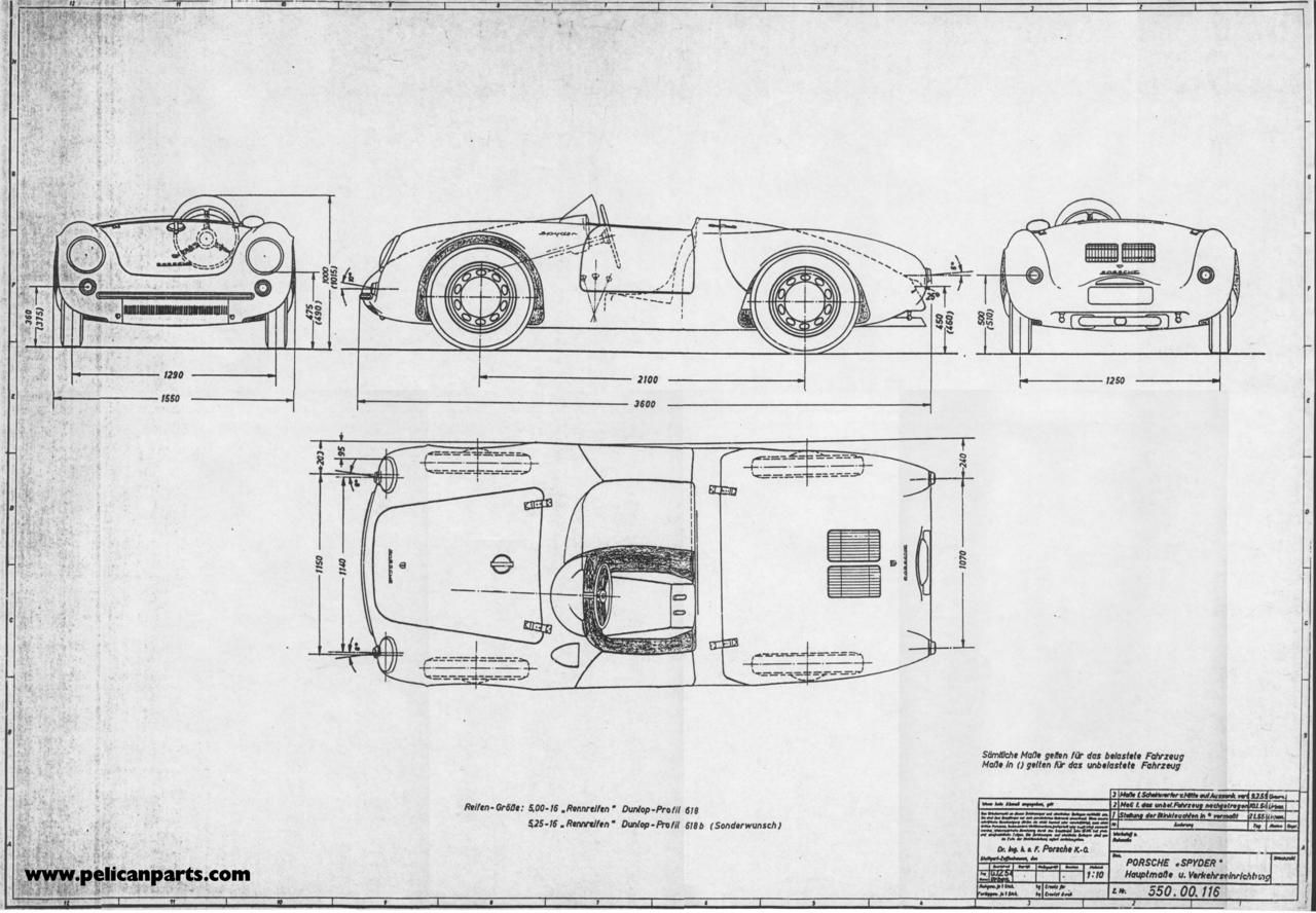 Early Set Of Blueprints For The Porsche 550 Spyder With Images