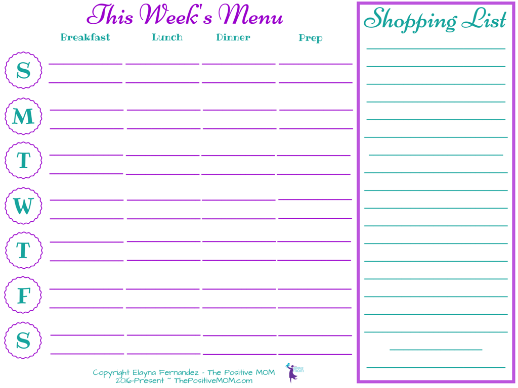 One Week Meal Plan Sample Template And Printable  Holistic