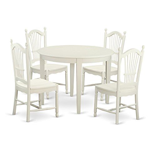 East West Furniture BODO5WHIW 5 Piece Table And 4 Dining Chairs Kitchen Dinette Set You
