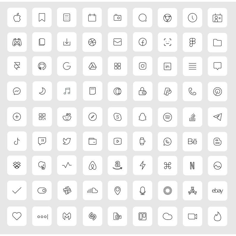 36 White iOS 14 App Icons Light Mood iOS14 Widget