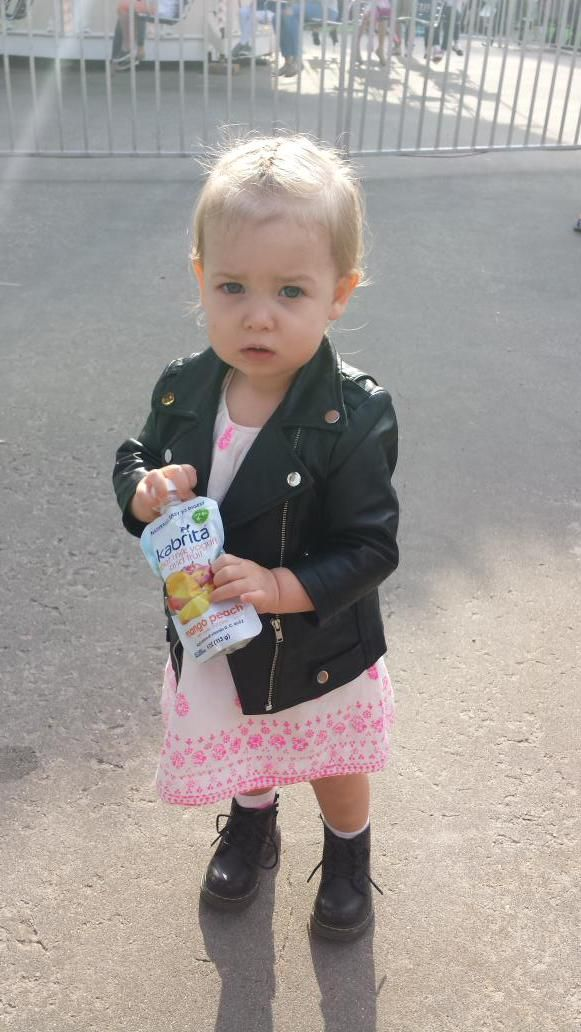 Check out the cutest mini fashionista we met at Baby Buggy's Bedtime Bash! She's loving Kabrita Goat Milk Yogurt & Fruit