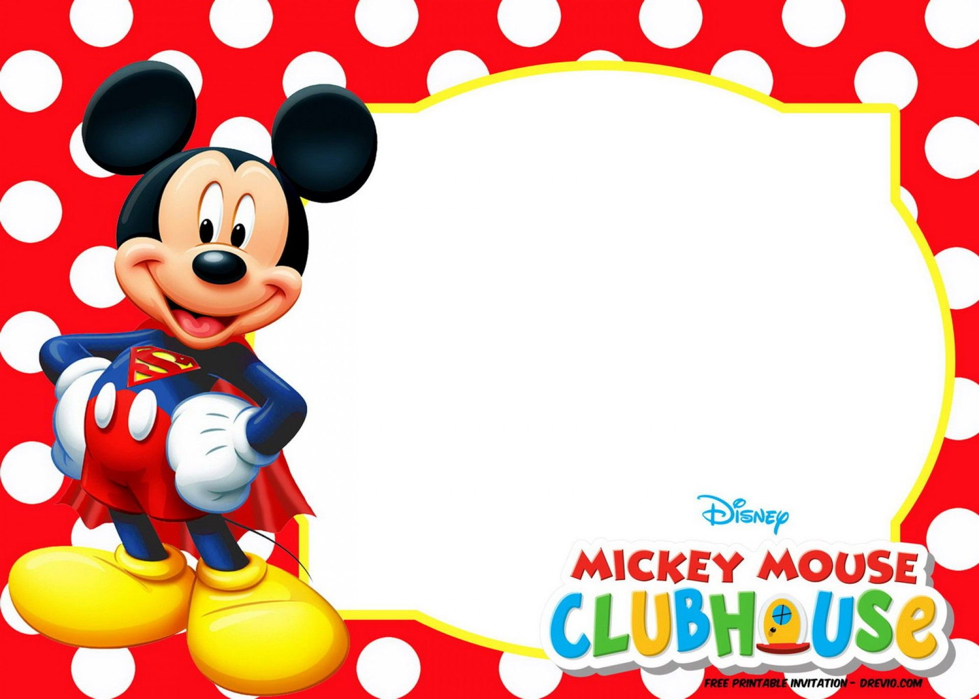 Editable Mickey Mouse Birthday Invitation Template  Mickey mouse
