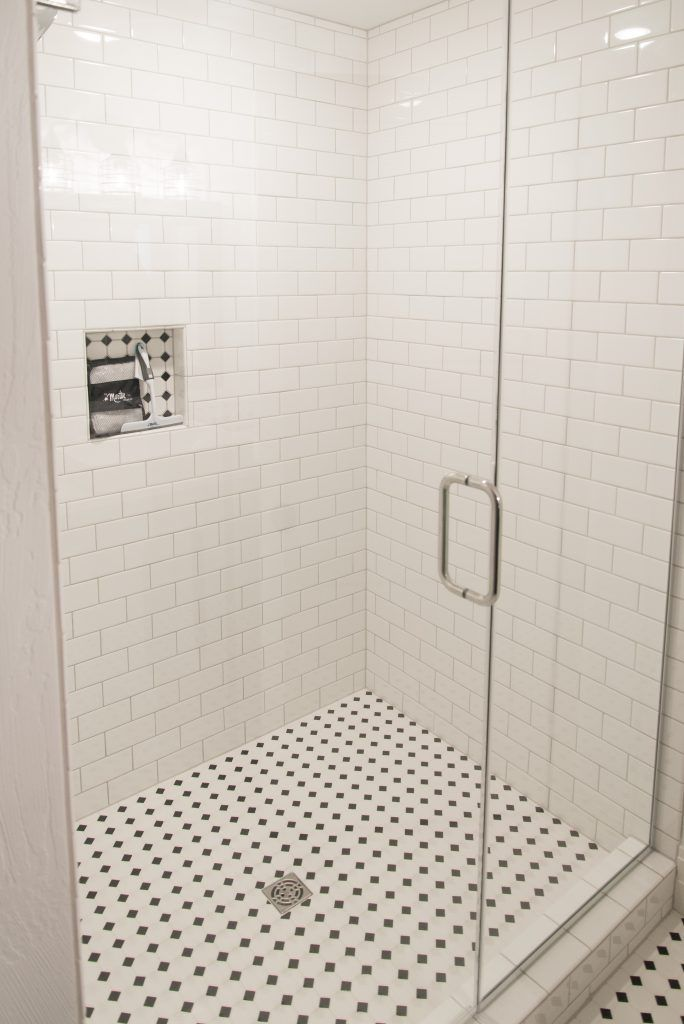 White Subway Tile Shower With Octagon And Dot Black And White Tile