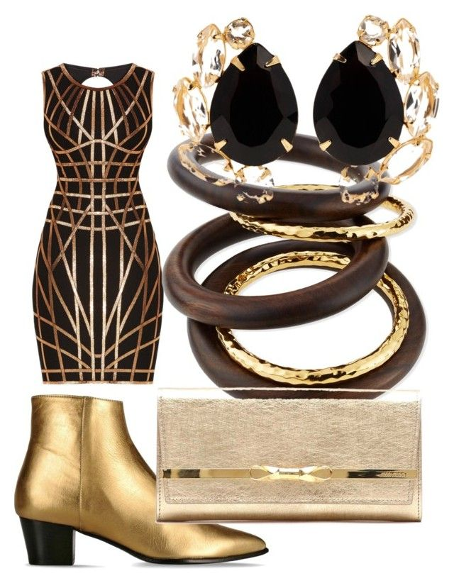 """Untitled #2442"" by bellagioia ❤ liked on Polyvore featuring Barbara Bui, Hervé Léger, NEST Jewelry, Jimmy Choo and Bounkit"