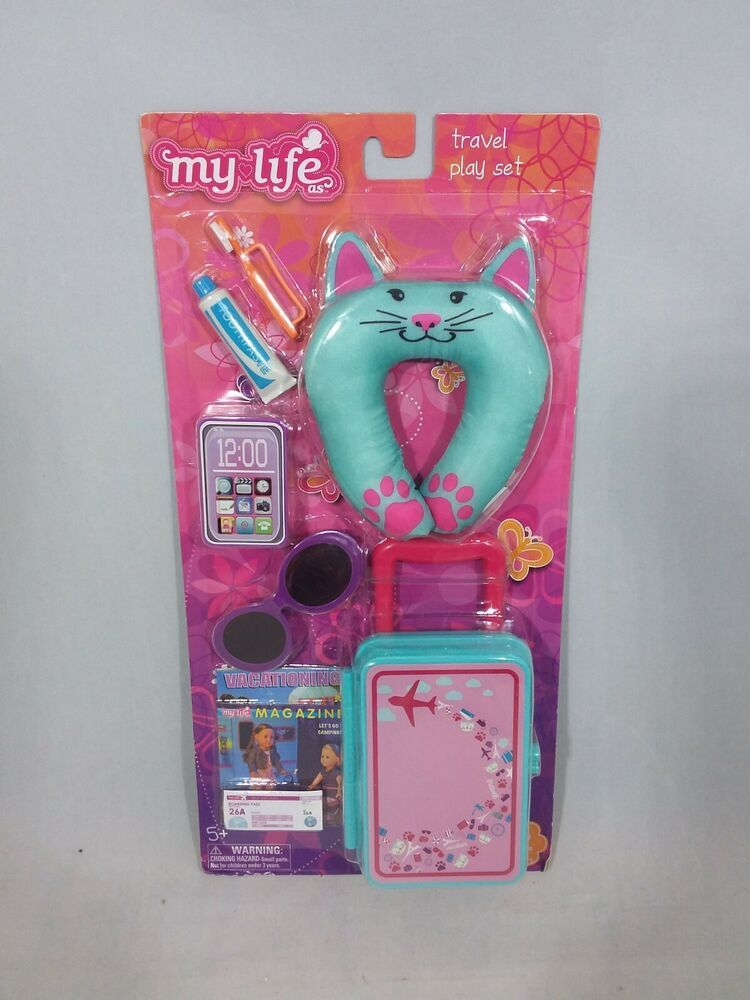 18 Doll 10Pc CAT TRAVEL LUGGAGE PLAY SET Suitcase for My Life American Girl Boy #MyLifeAs #americangirldollcrafts