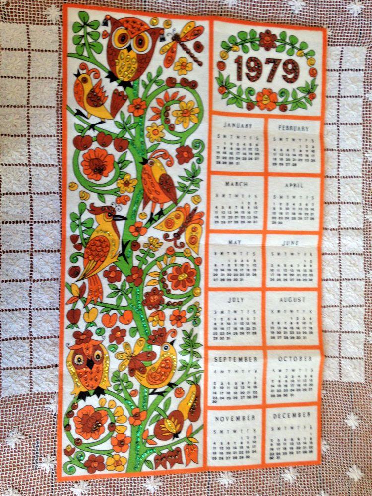 Vintage 1979 Birds On Floral Vine Felt Calendar Beads Sequins
