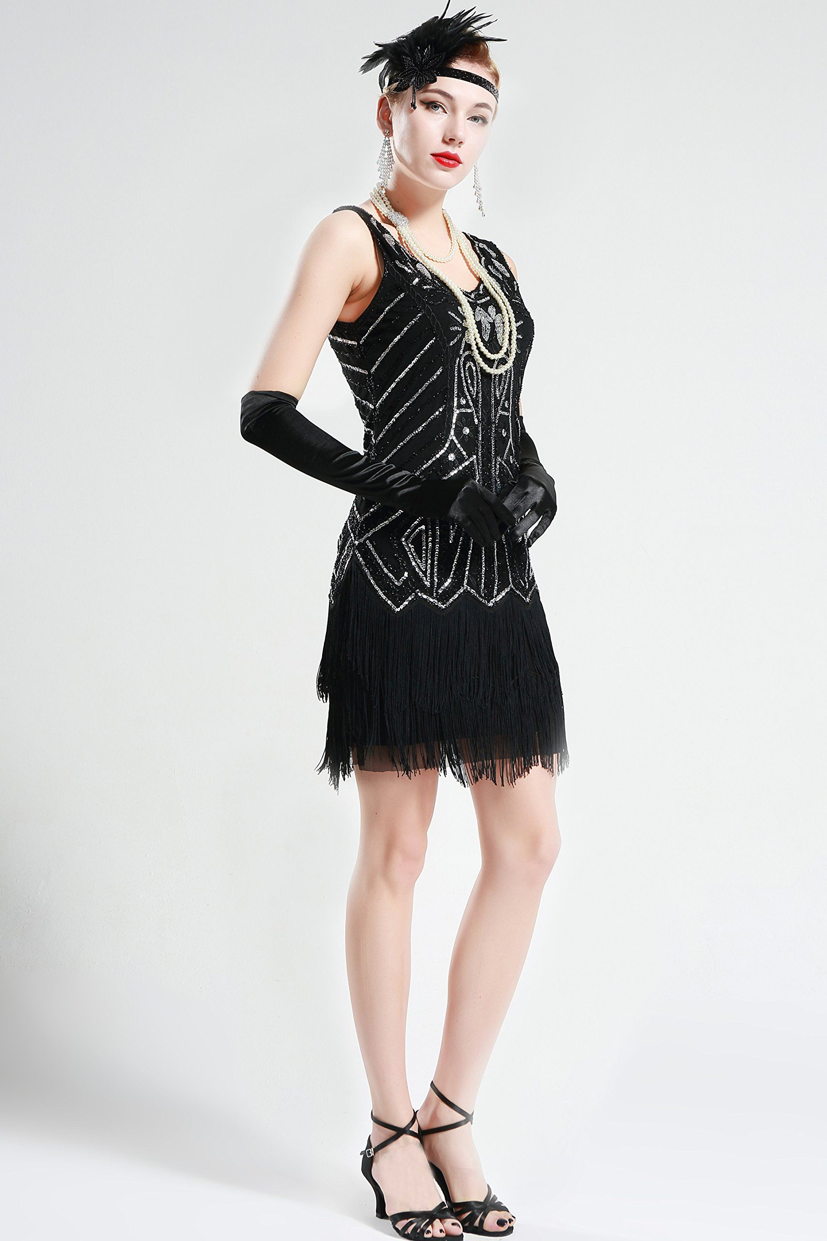 BABEYOND Womens Flapper Dresses 1920s V Neck Beaded Fringed Great ...