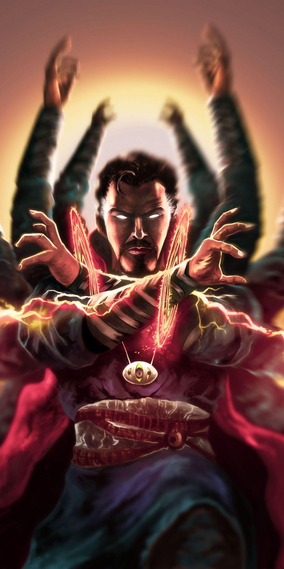 Download 1080x2160 Wallpaper Doctor Strange Magic Multiple