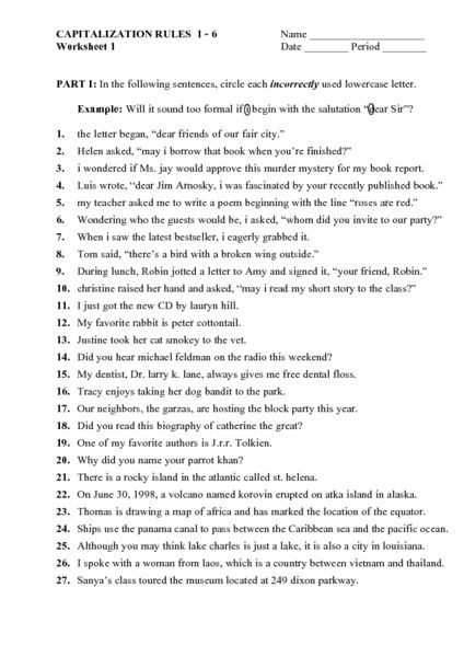 capitalization worksheets 6th grade - Google Search | Teaching ...