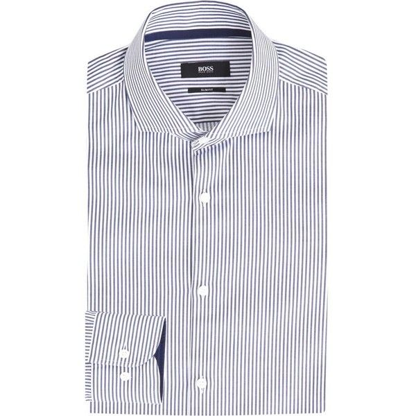 a793445a7 Hugo Boss Striped slim-fit cotton shirt ($165) ❤ liked on Polyvore featuring