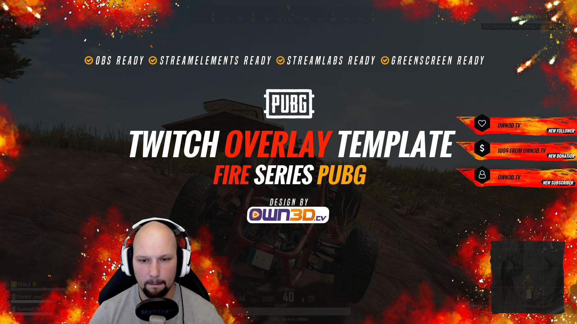 Twitch Overlay Template Fire Red Pubg Ownd Tv  Game Streaming Shop