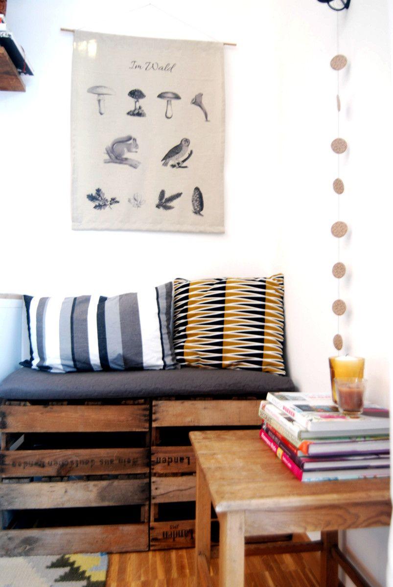 selbst gebaute bank aus weinkisten sch ner wohnen pinterest weinkisten selbst bauen und b nke. Black Bedroom Furniture Sets. Home Design Ideas