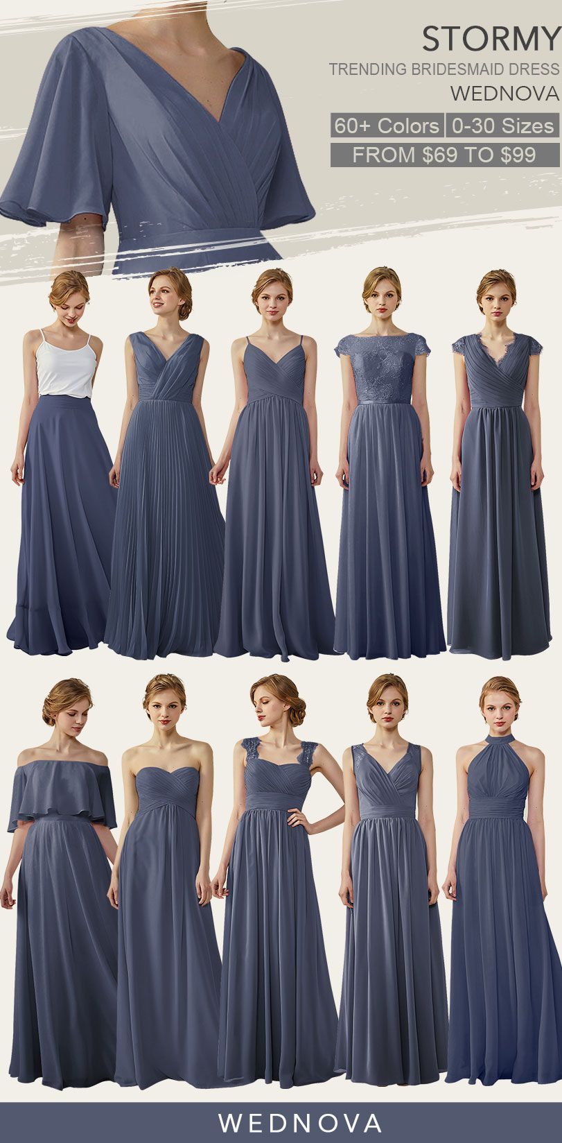 09b90267a41d Top 10 stormy bridesmaid dresses chiffon v neck dress you can wear again  wedding  v neck bridesmaid dress