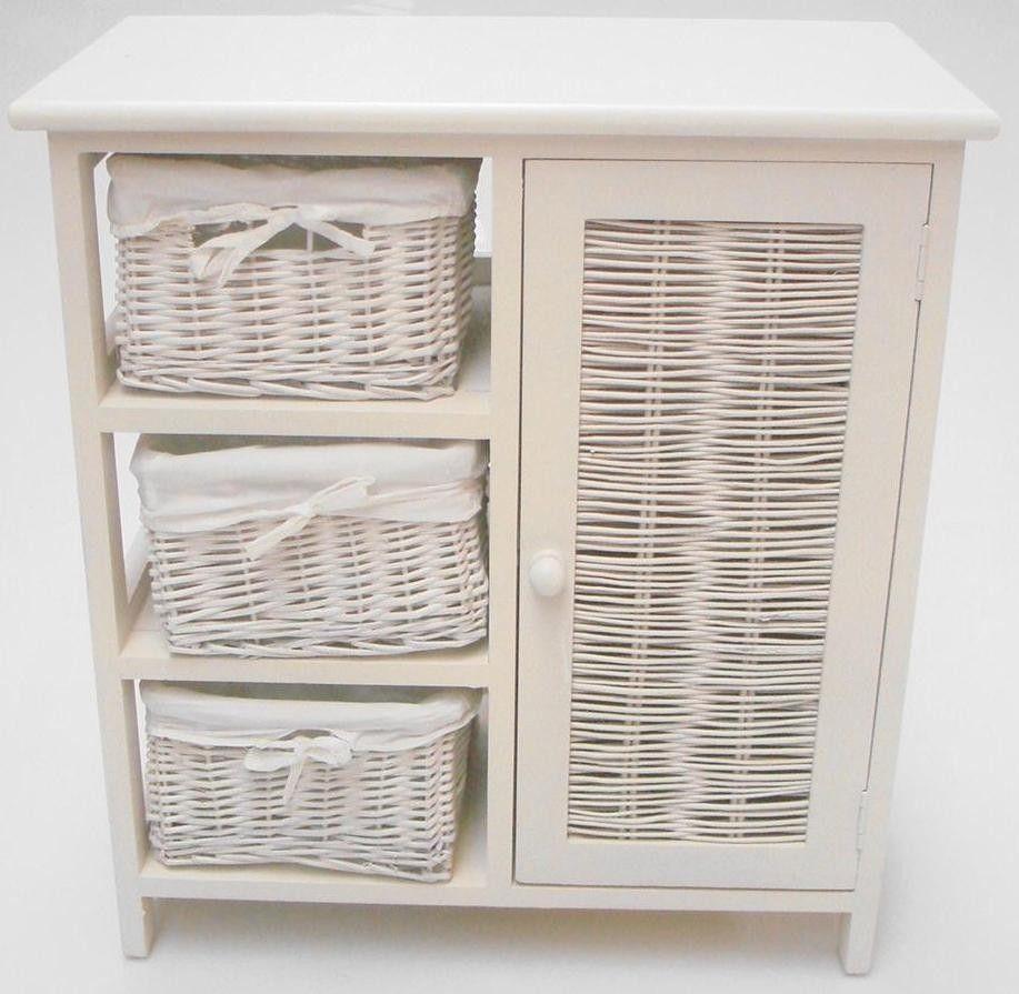 White Wicker Bathroom Storage Cabinet, Wicker Shelves For Bathroom