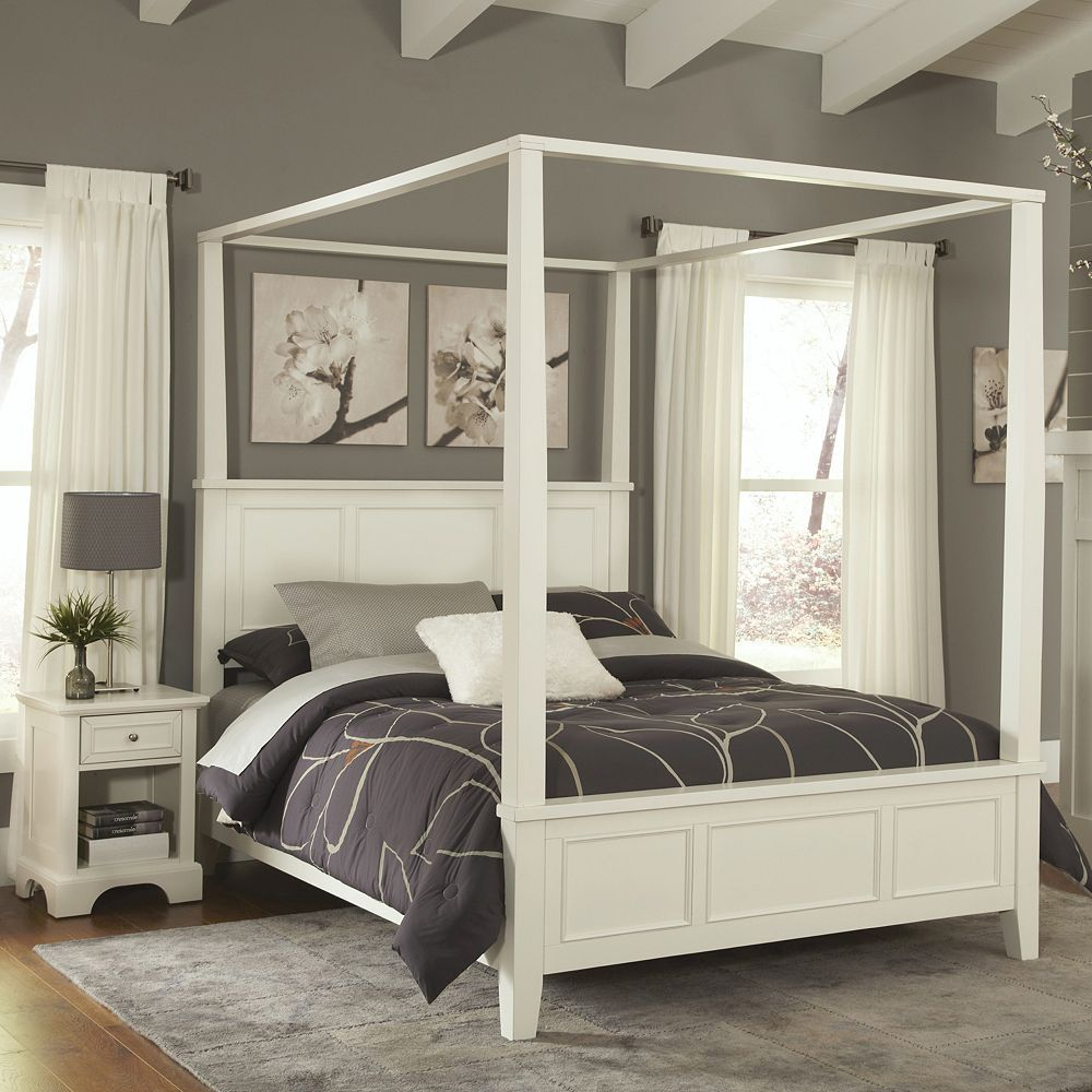 Home Styles Naples 4 Pc Queen Headboard Footboard Frame Canopy Bed And Nightstand Set