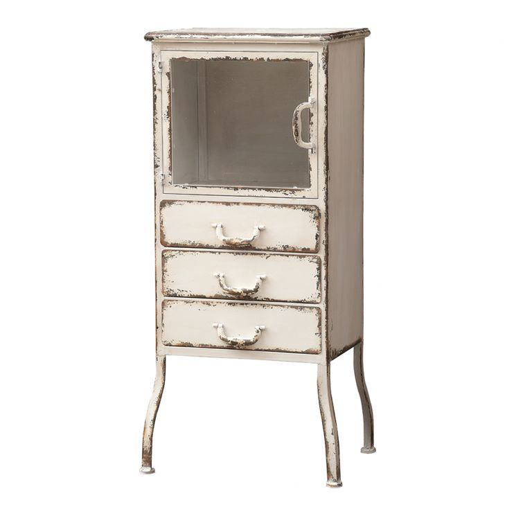 Metal Accent Cabinet In Distressed White