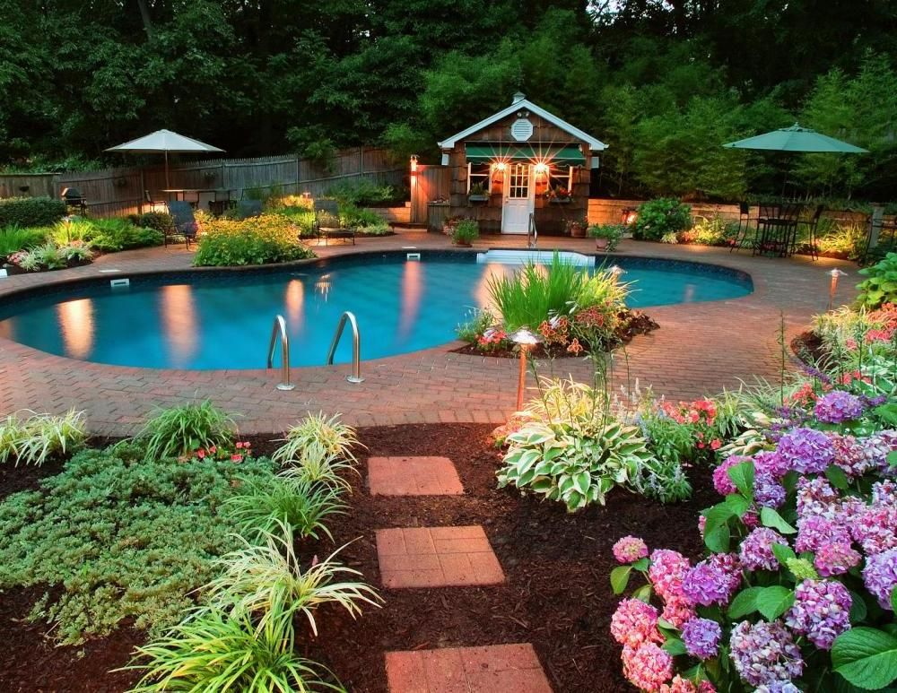lovely free form swimming pool and blue parasol in amazing backyard garden ideas feat assorted flower