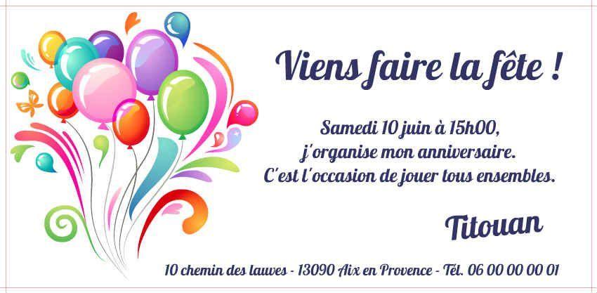 cartes d'invitation anniversaire gratuites à imprimer | Invitation anniversaire gratuite, Carte ...