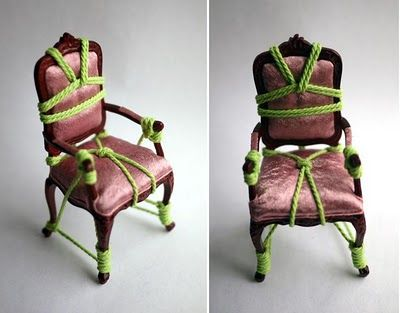 Artist Kennedy James created a series of Victorian style miniature armchairs tied up and harnessed in the ancient art of Japanese Shibari...