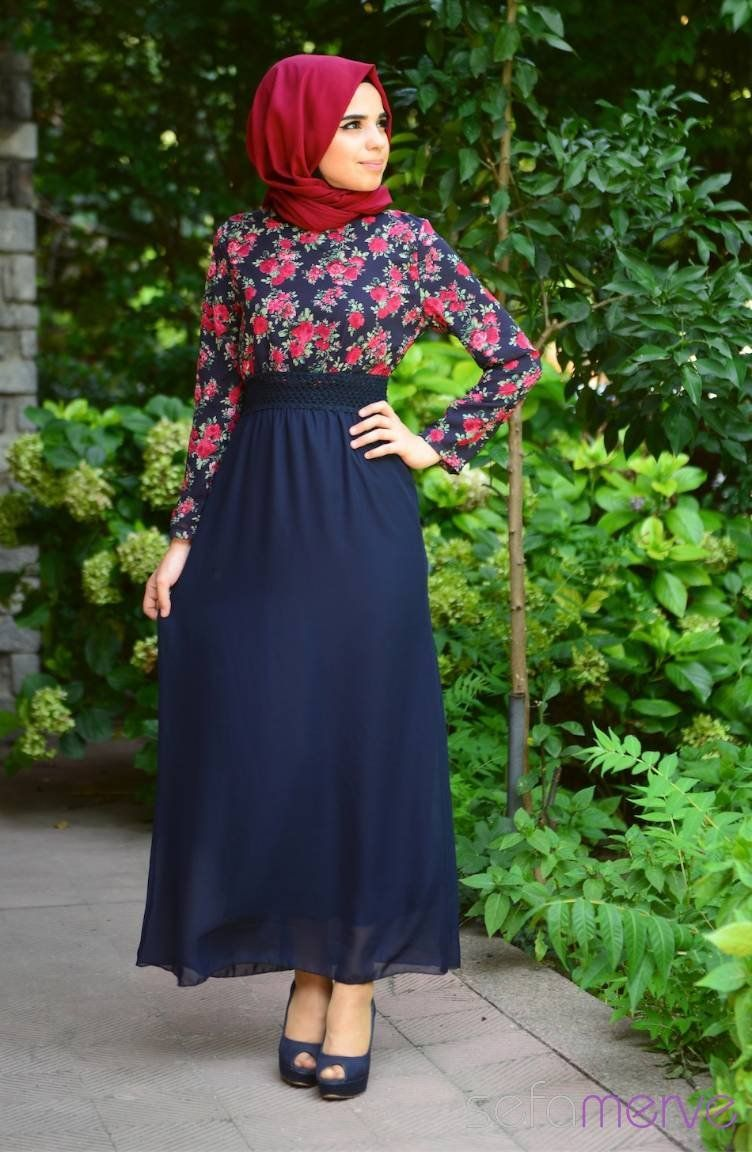 Tesettur Elbise 7122ym 05 Lacivert Kirmizi Musluman Modasi Islami Moda Abaya Tarzi