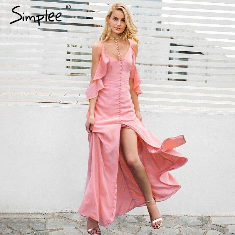 Simplee Volante de gasa vestido de verano Mujer sexy vestido de ...