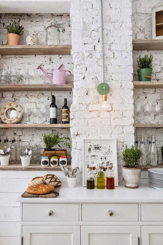 Keukens Met Witte Bakstenen Muur Wooninspiratie Brick Interior Wall Brick Wall Kitchen Brick Interior