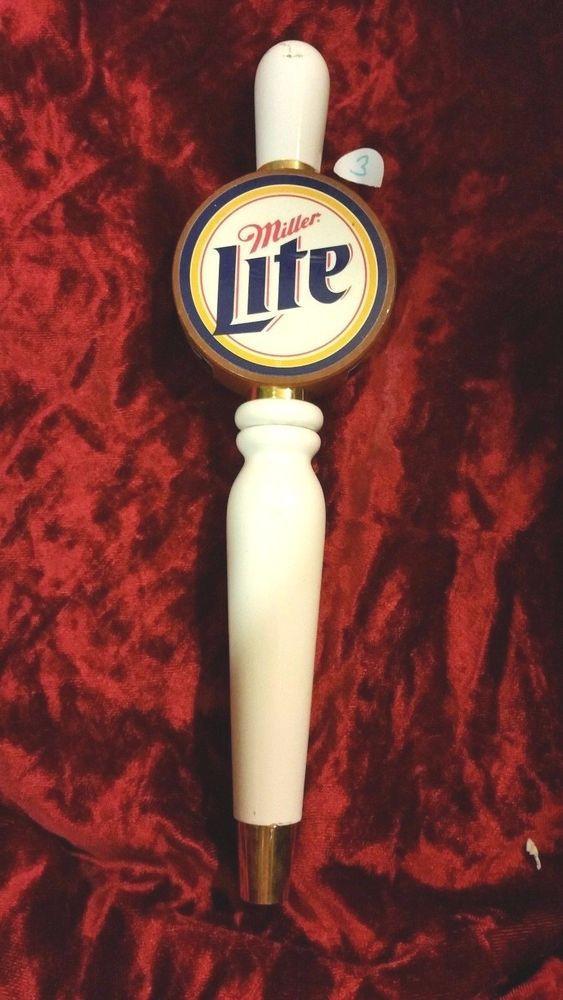 L@@K Used Miller Lite Wood u0026 White 14  Beer Tap Handle Marker & L@@K Used Miller Lite Wood u0026 White 14