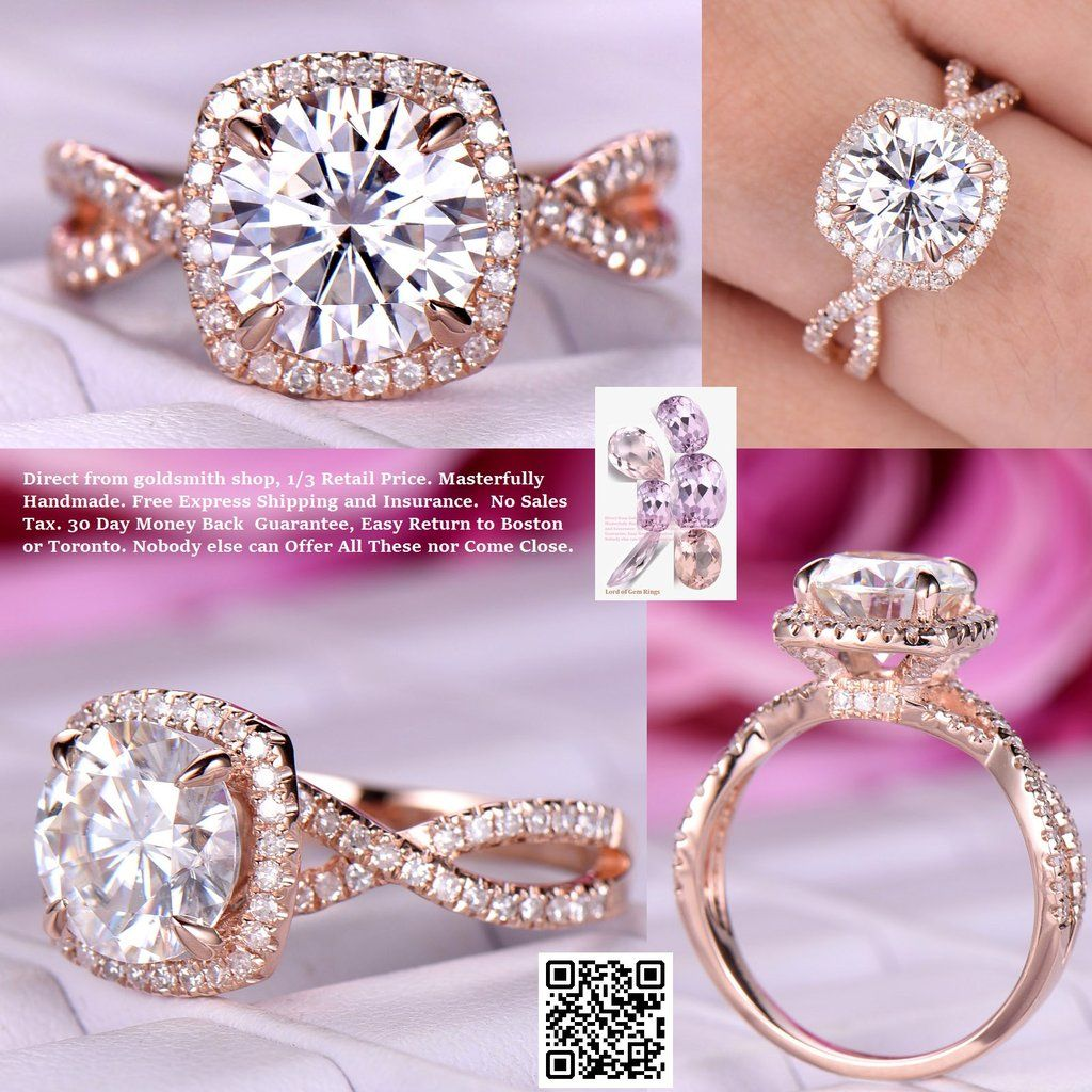 Round FB Moissanite Engagement Ring Diamond Infinite Love Shank 14K ...