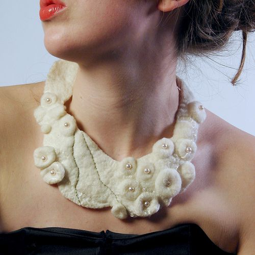 Snow White Shibori Felted Collar by ElenaMakesThings, via Flickr
