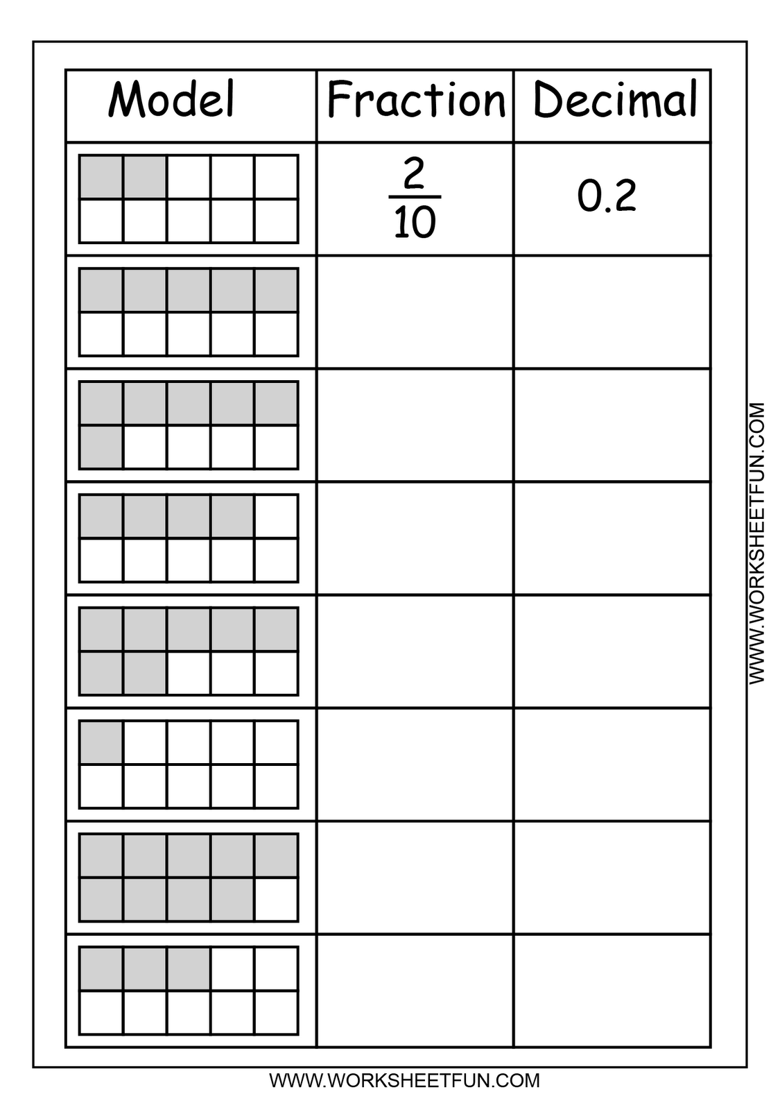 Free Printable Worksheets: Fraction - Decimal | Fractions ...