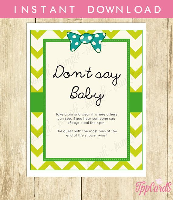 Baby Shower Clothes Pin Game Don't Say Baby Game Baby Shower Games Printable Bowtie Baby Shower