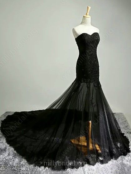 Trumpet/Mermaid Black Tulle Court Train Appliques Lace Fabulous Prom Dresses  #Milly020102122