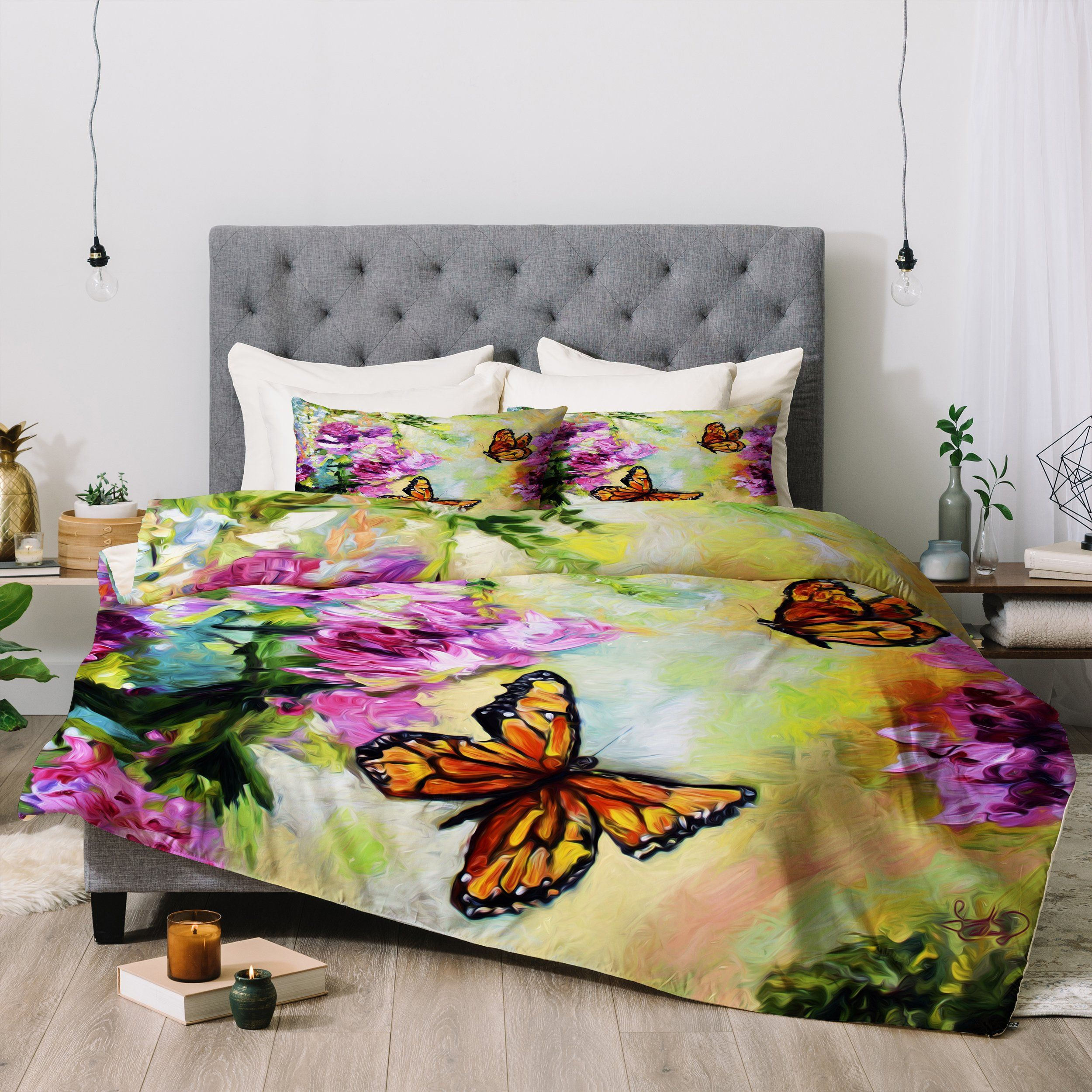 Butterflies And Peonies Comforter Ginette Fine Art Bedding Sets Bed Unique Bedding Sets