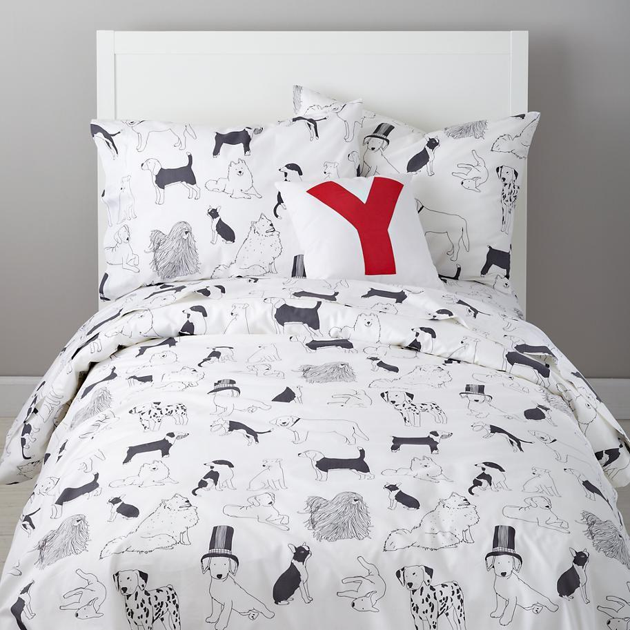 The Land Of Nod Kids Bedding Dog Patterned Bedding Set In Girl