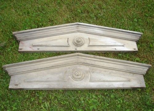 Great pair of wood pediments architectural salvage grey for Gable pediments for sale