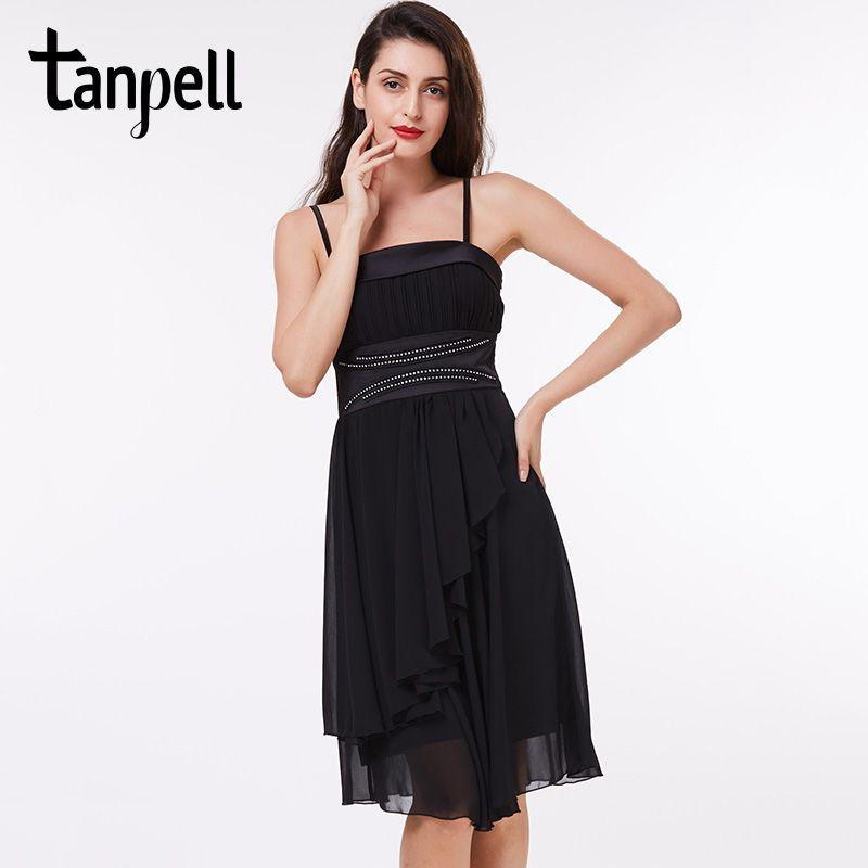 Tanpell spaghetti strap cocktail dress black knee length beaded a line dress  cheap women draped short summer cocktail dresses f0896b084922