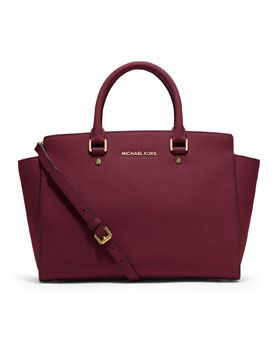 bbdb17d10ceb84 Michael Kors medium Selma Top-Zip Satchel in burgundy. Love the wine color!