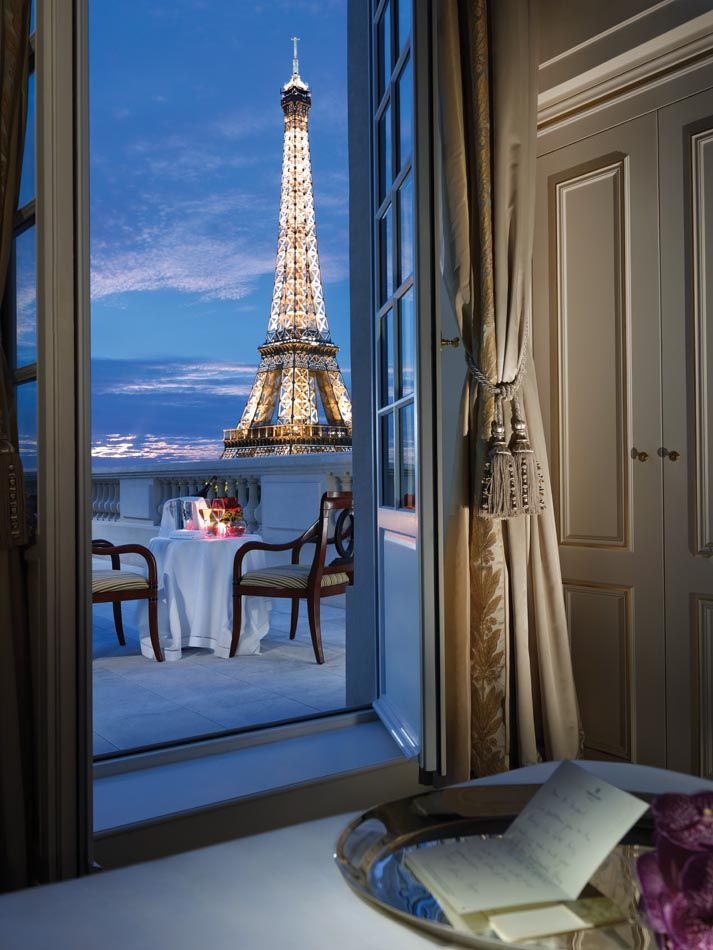 Beautiful View Of The Eiffel Tower From Terrace Shangri La Hotel Paris Like Us Can T Believe It