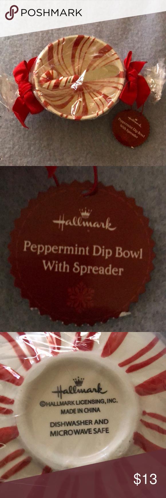 Hallmark Peppermint Dip Bowl & Spreader. NWT Cute