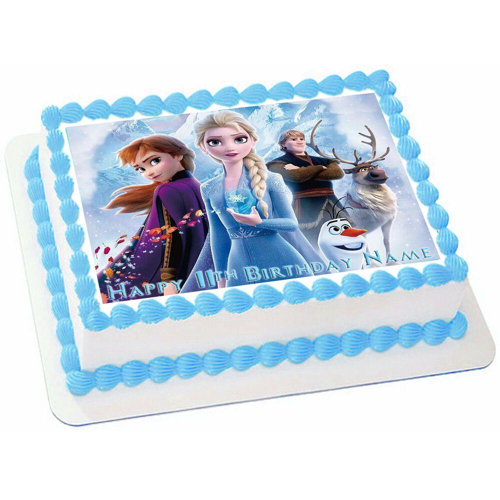 Edible Frozen 2 Disney Cake Topper Birthday Party Wafer Paper 1 4