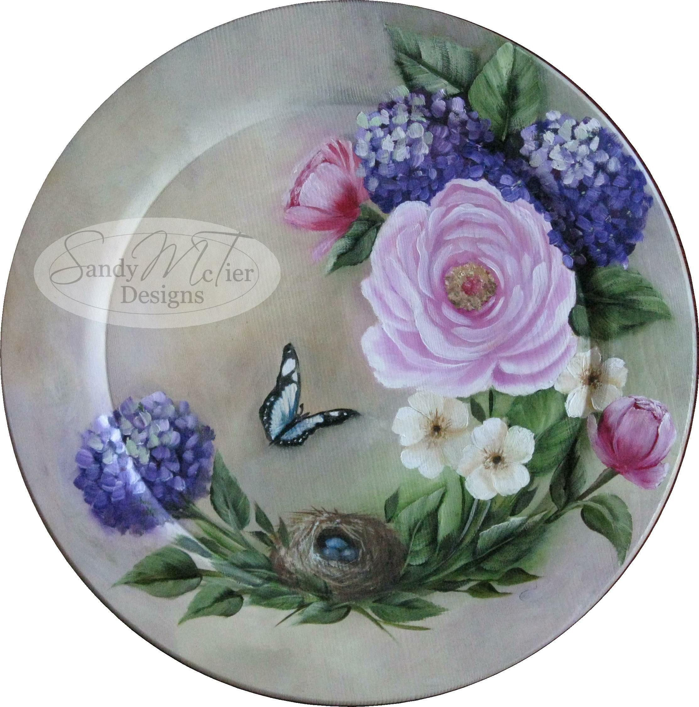 Springtime by Sandy McTier  painted on wooden plate with wOils