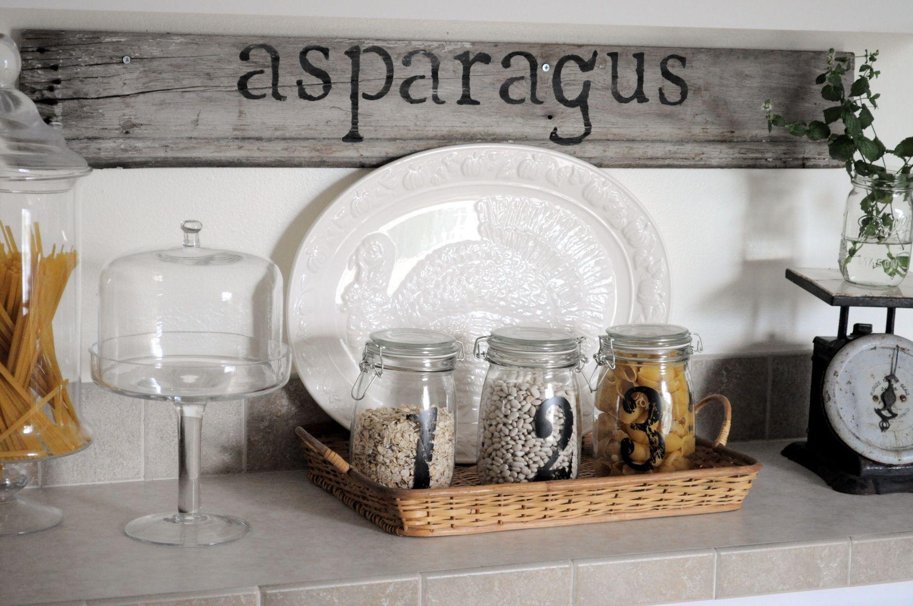 Asparagus sign in kitchen