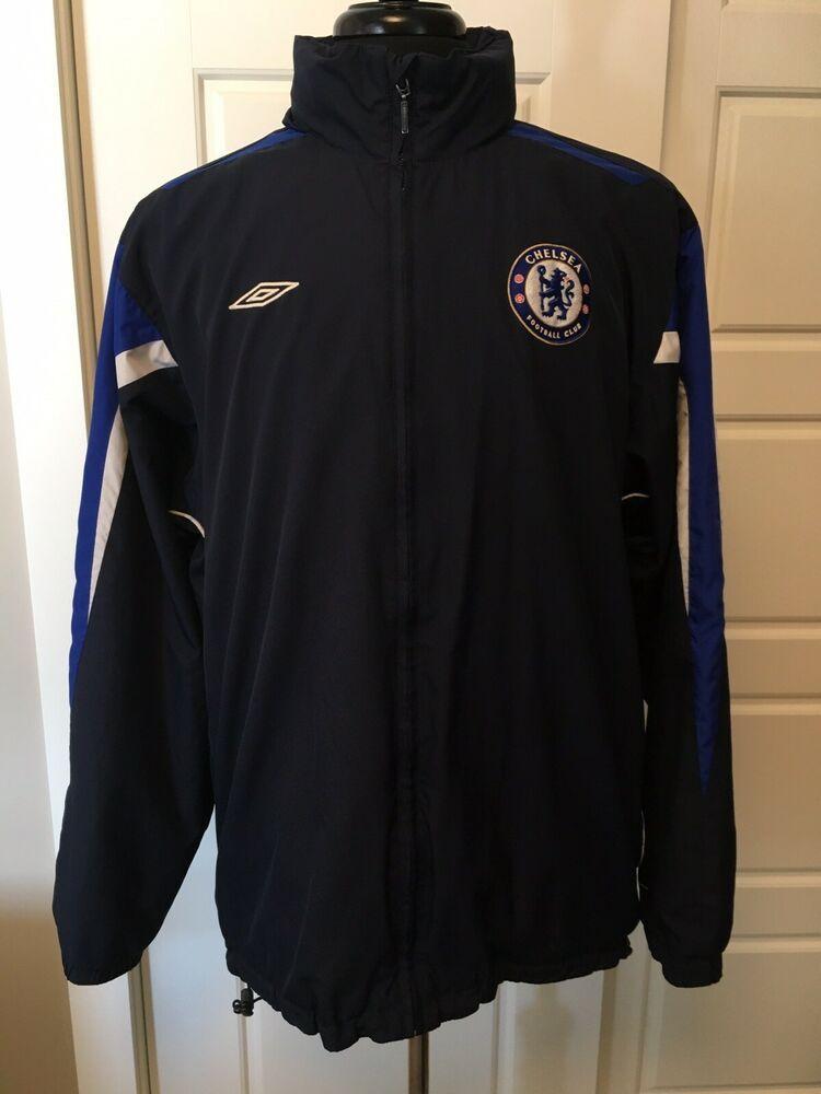4e1febbfdb95e8 Umbro Chelsea F.C. Men s Navy Blue Full Zip Windbreaker Jacket with Hood  Size XL  Chelsea