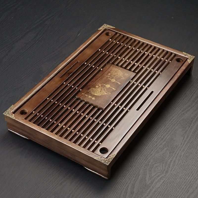 Wooden Tea Tray Table Drainage Water Storage Chinese GongFu Tea Serving Tray for Home Office Teahouse Use