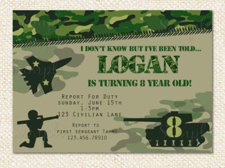 Camo Military Birthday Invitations Ideas For Any Occasion