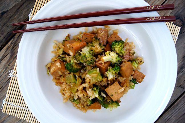 ... Tofu, Broccoli, and Brown Rice Recipe | School supplies, Stir fry and