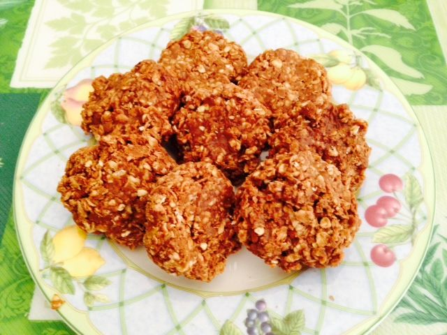 My version of No Bake Cookies - with 1 & 3/4sugar, 1/4 cup cocoa, 34 cup milk, 2 tbsp butter, 1/2 cup cookie butter (replacing peanut butter), 1/2 tsp vanilla extract, and 2 & 1/2 cup quick cooking oats. To make it less fattening - use less sugar (brown sugar substitute), just 2 tbsp. of Smart Balance butter. Boil sugar, milk and cocoa for 2-3 min. Then remove from heat and mix in butter and cookie butter and vanilla extract, fold in oats. Scoop out cookie dough in wax paper. Enjoy!!!